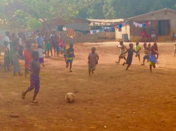 Village kids joining our soccer match