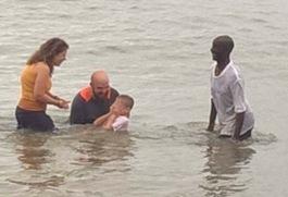 Tyler baptizing Finn